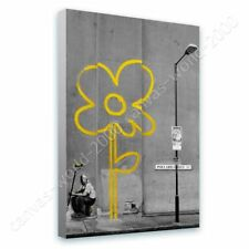 READY TO HANG CANVAS Flower Banksy Framed Paints Oil Paintings Prints