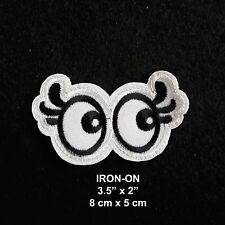 Rolling Eyes White Cartoon Eye Embroidery Iron-on Applique Patch