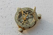 "MARITIME SHINY BRASS NAUTICAL SUNIDAL COMPASS 4"" REPLICA POCKET COMPASS GIFT."