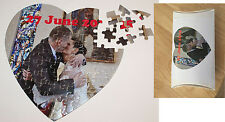 Personalised Photo Jigsaw  Puzzle, Heart, Add you own Text  Photo Gift BOX