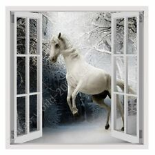 Alonline Art - READY TO HANG CANVAS Wild White Horse Fake 3D Window For Bedroom
