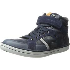 Geox Junior Garcia A Navy Leather Ankle Boots