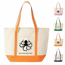 Custom Canvas Boat Tote Bag - Octopus Design Personalized with Your Name