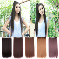 Ladies Long Straight Seamless 5 Clip Ponytail Hair Extension Hairpiece