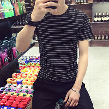 2017 Men T-Shirts Short Sleeve Loose Shirt Striped Pullover Jumper Sweater Tops