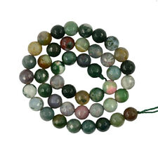 "15"" Natural Green Grass Moss Agate Gemstone Faceted Round Loose Beads 8mm 6mm"