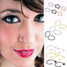 6pcs Stainless Steel Nose Open Hoop Ring Earring Body Piercing Studs Jewelry