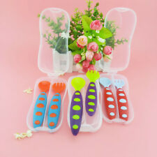 Child Toddler Cutlery Fork Spoon Set Case Infant Baby Feeding Utensils BPA Free