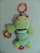 Carters Green Hippo Baby Vibrating Plush Rattle Squeak Link Toy Sensory ~ SWEET!