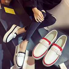 Womens Loafers Pumps Low Top Round Toe Mid Heel Casual Shoes Slip On Comfy Hot J