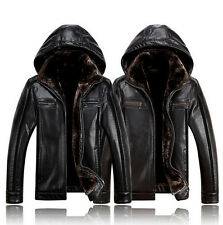 Mens Fur Leather Business Hooded Thick Warm Winter Jackets Casual Coats Sz M-4XL