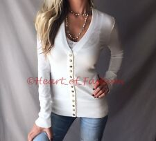 SEXY Ivory Low Cut V-Neck Long Sleeve Knit Snap Button Cardigan Sweater Top