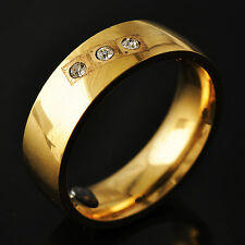 Fashion Womens gold filled Crystal Promise wedding Band Ring Size 7-11