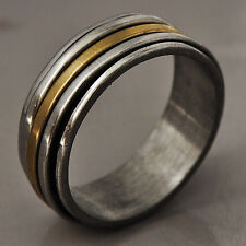 Vintage Mens Titanium stainless steel Band spinner Love Band Ring Size 9-11