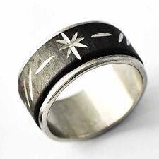 Fashion Mens Black silver plated Carved Flower Spinner wedding Ring Size 7-12