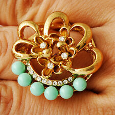 Women gold filled Crystal Pearl Turquoise Flower Cocktail Band Rings Size 7-10