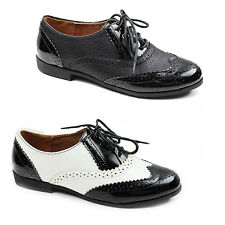 WOMENS LADIES CASUAL FLAT LACE UP OXFORD LOAFERS BROGUES SHOES SIZE 3-8