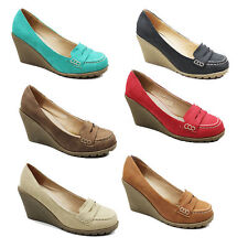 NEW WOMENS LADIES CASUAL HIGH WEDGE HEEL SLIP ON MOCCASIN LOAFERS SHOES SIZE 3-8