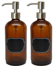 Firefly Craft Plastic Pump Bottles with Chalkboard Labels, 16 ounces each