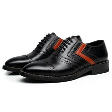Mens Leather Oxfords Lace Up Brogues Chunky Heel Classic Dress Formal Shoes NEW