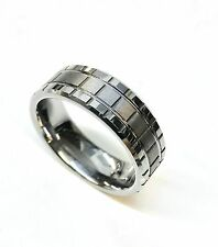 8mm Tungsten Carbide Grooved Square Brushed Center Wedding Band Ring