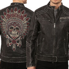 Affliction Renegade Riders Indian Skull Moto Mens Leather Jacket Black LE $595