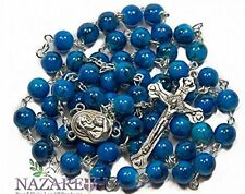 Beautiful Glass Beads Rosary Catholic Necklace Holy Soil Medal & Crucifix...