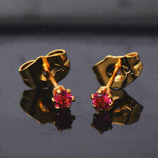 Hot Womens cute Red Crystal stud earrings Gold filled Luxury Fashion Jewelry
