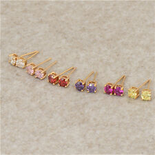 Womens Girls Lovely 18K Yellow Gold Filled Colorful crystal Stud Earrings