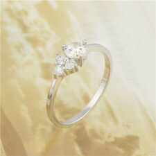 Charming 18K White Gold Filled CZ Womens Band Ring Wedding Jewelry Size 8,9
