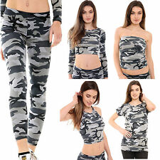 New Womens Ladies Army Camouflage Print Stretch Legging Cami Crop Top Vest Top