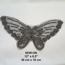 """Black Butterfly Lace 12""""/30 cm Sequin Embroidery Neckline Collar Patch Applique"""