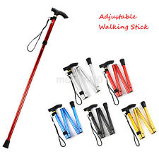 Durable Aluminum Metal Walking Stick Adjustable Folding Collapsible Travel Cane