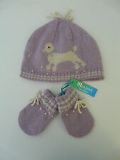 MONSOON BABY GIRL LILAC WOOL ANGORA POODLE BEANIE HAT MITTENS SIZE 0-12 MONTHS