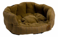 Tan Herringbone Tweed Pet Bed Petface Dog Puppy Basket Sherpa Fleece Cushion