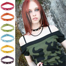 Cool Gothic Mens Womens Faux Leather Spike Rivet Choker Punk Necklace Jewelry