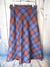 Ladies Laird Portch of Scotland Pure New Wool Tartan Long Skirt Size 14