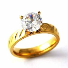 Carving Yellow Gold Filled Clear Zircon Womens Wedding Love Ring Size 6 7 8 9