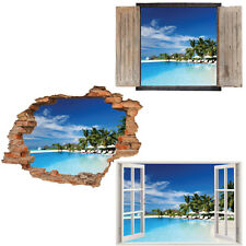 Window Wall Sticker Decal Vinyl 3D Tropical Beach Palm Tree home art room decor