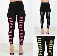 Womens Ladies Ripped Lace Stretch Fashion Leggings Punk Clubbing Party Pants