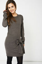 Grey Knitted Dress With Tight Detail Ex-Branded Available In Plus Sizes