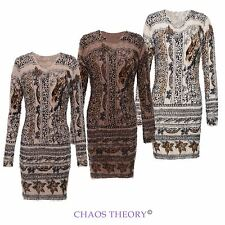 TIGER FLORAL KNITTED FLUFFY FUR BODYCON WINTER JUMPER DRESS TOP LADIES WOMENS