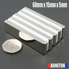 Neodymium magnets PACK BLOCK 60mm x 15mm x 5mm PACK SUPER LARGE STRONG FLAT