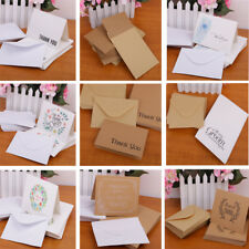 50pcs Blank Paper Thanks Cards with Envelopes Greeting Wedding Party Reception