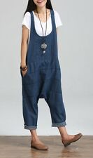 Ladies Denim Baggy Jumpsuits Rompers Harem Pants Loose Siamese Trousers Overalls
