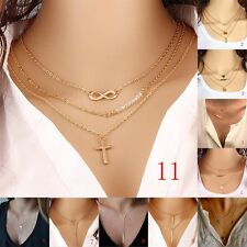 Pearl Womens Pendant Bib Long Necklace Gold Filled Simple Layered