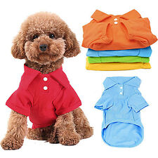 Puppy Dog Cat Summer Solid Color Polo Shirt Pet Clothes Costume T-Shirt Hot Sale