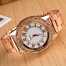 Men Lady Rhinestone Roman Numerals Alloy Band Round Analog Quartz Watch Hot Sale