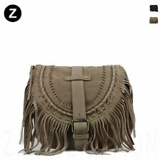 Fringed Faux Suede Shoulder Bag Vintage Flap Tassel Women Cross body PU Leather
