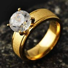 Pretty Fit Womens Engagement Love Ring Y-Gold Filled Zircon Jewelry Size 6-9